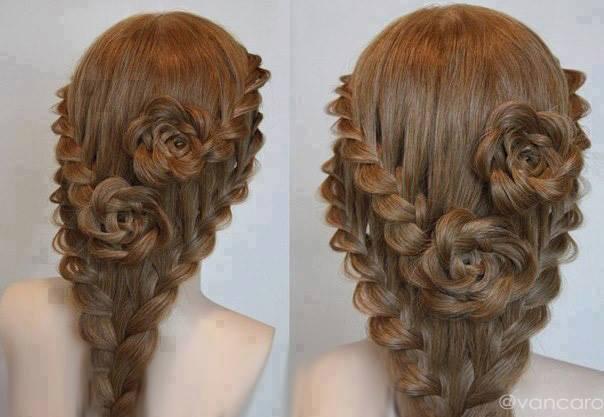 Καταπληκτικό Δαντελωτό Πλεκτό Τριαντάφυλλο χτένισμα για μακριά μαλλιά