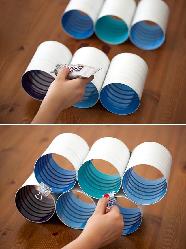 DIY ράφι κρασιών από κουτιά καφέ6