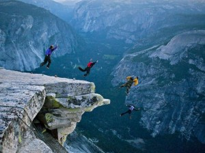 Base jumping in Yosemite
