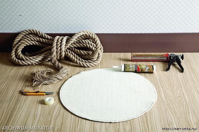 DIY Απλό Χαλί από σχοινι1
