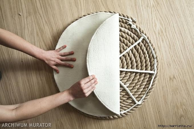 DIY Απλό Χαλί από σχοινι6
