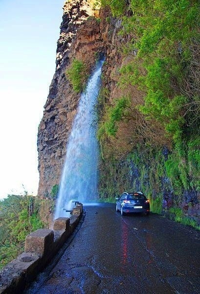 Waterfall-Highway-Madeira-Portugal
