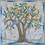 Tree with bluebirds mosaic