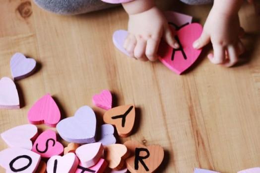 Ξύλινες Καρδούλες για τα παιδιά (γράμματα1)