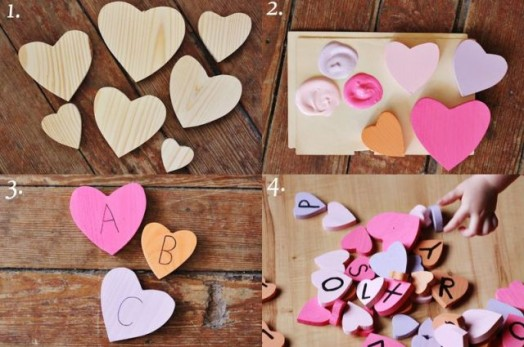 Ξύλινες Καρδούλες για τα παιδιά (κατασκευή)