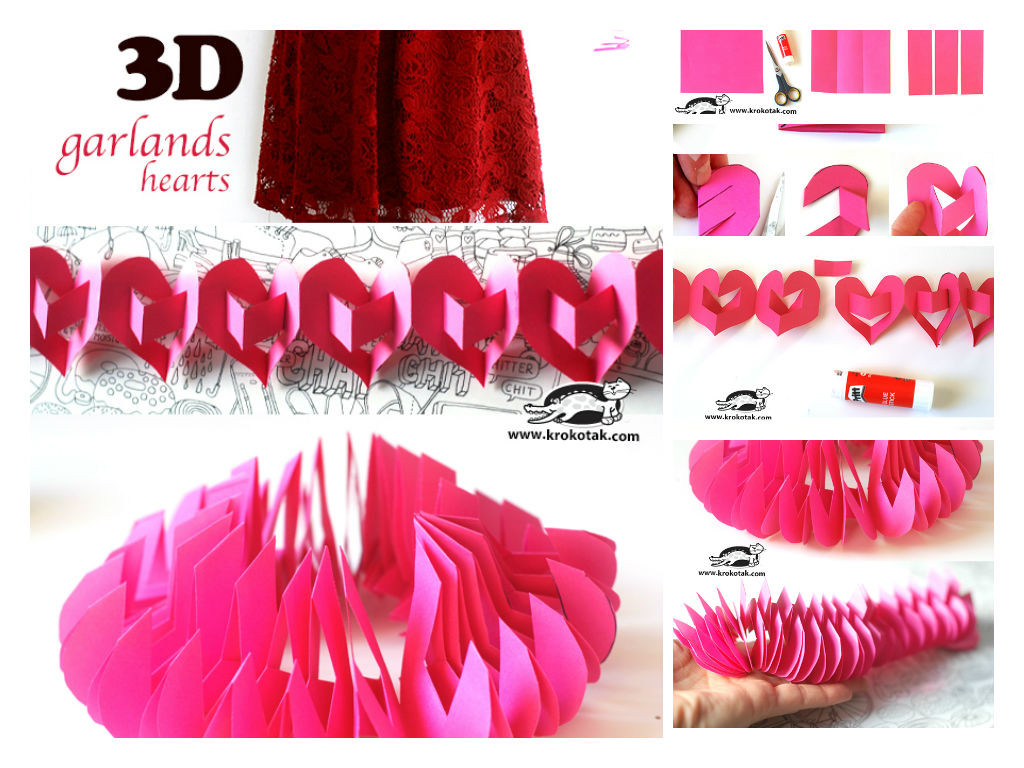 3D garland hearts