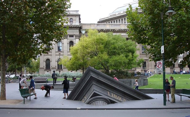 Sinking library building, Melbourne, Australia
