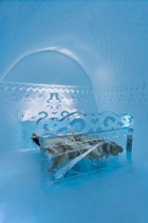 The Icehotel in Jukkasjärvi bedroom