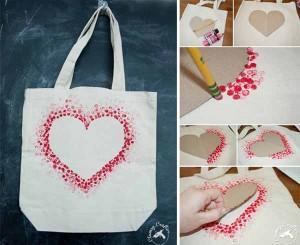 Ζωγραφισμένη καρδιά σε τσάντα