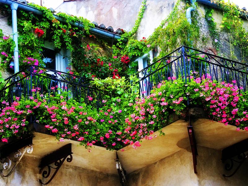 Μπαλκόνι με λουλούδια