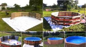 πισίνα φτιαγμένη από 10 παλέτες