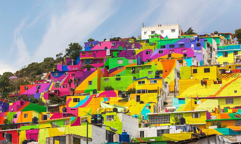 Μεξικάνικη γειτονιά μετατρέπετε σε μια τεράστια τοιχογραφία ουράνιου τόξου 2