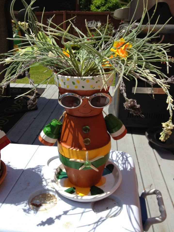 διασκεδαστικές κατασκευές με γλάστρες για τον κήπο3