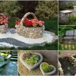 πέτρινες διακοσμήσεις κήπου