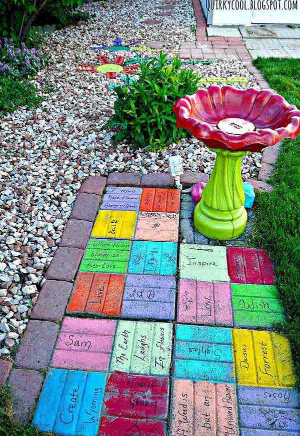 DIY ιδέες κήπου ή αυλής από τούβλα4