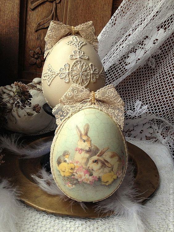 Πασχαλινά αυγά διακοσμημένα με σπάγκο και δαντέλα12