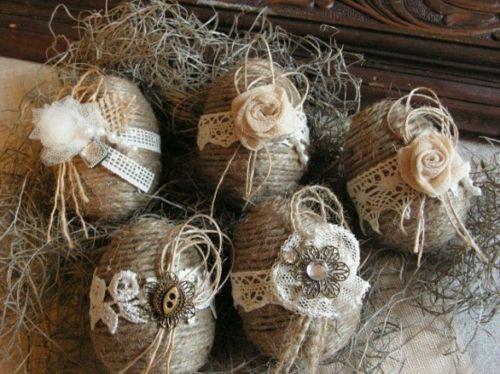 Πασχαλινά αυγά διακοσμημένα με σπάγκο και δαντέλα13
