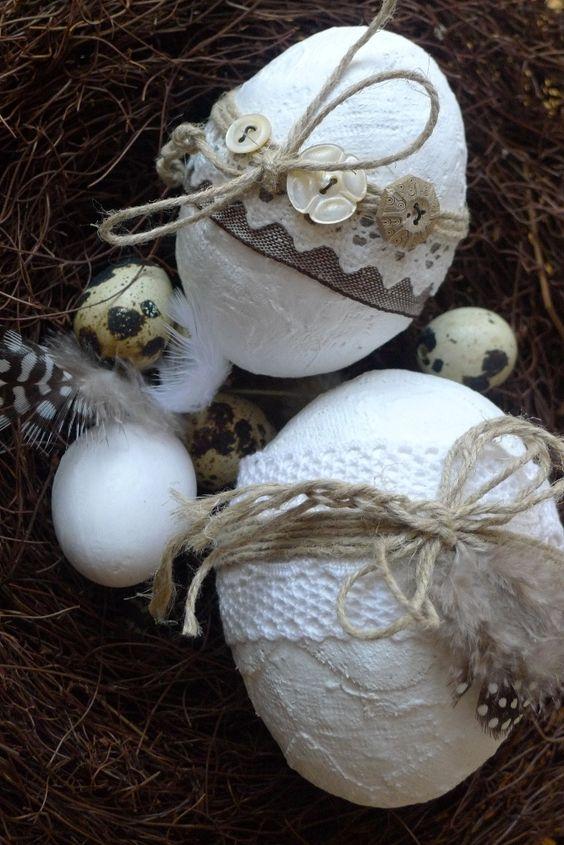 Πασχαλινά αυγά διακοσμημένα με σπάγκο και δαντέλα19