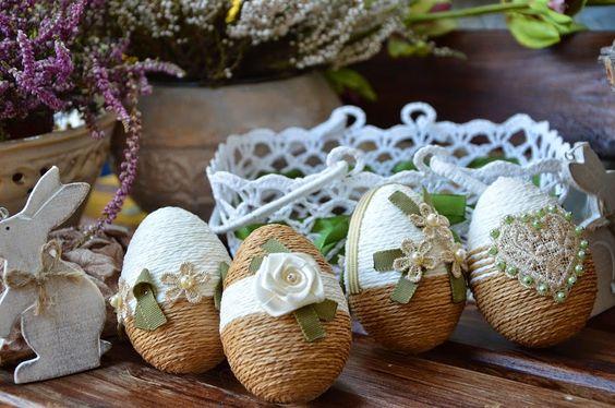 Πασχαλινά αυγά διακοσμημένα με σπάγκο και δαντέλα8