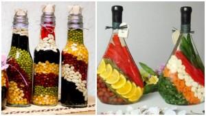 διακόσμηση, από λαχανικά, δημητριακά και Χρωματισμένο αλάτι