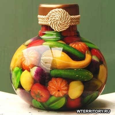 διακόσμηση, από λαχανικά, δημητριακά και Χρωματισμένο αλάτι1