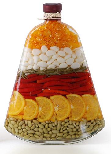 διακόσμηση, από λαχανικά, δημητριακά και Χρωματισμένο αλάτι10