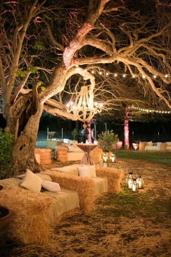 διακόσμηση με μπάλες από άχυρα για ένα Shabby chic ντεκόρ κήπων4