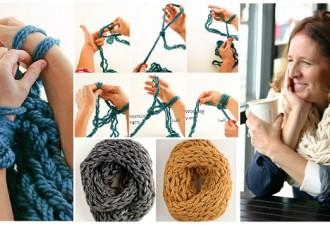 DIY φουλάρι με Πλέξιμο μόνο με το Βραχίονα (Βίντεο)
