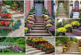 Πώς να διακοσμήσετε με γλάστρες γεμάτες λουλούδια τα εξωτερικά σκαλοπάτια σας